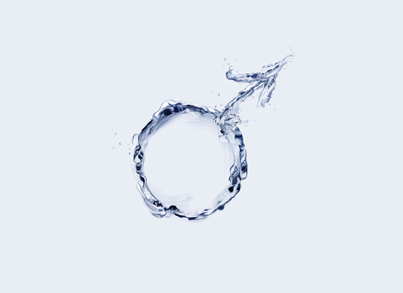 Male symbol made of water in blue. Archivio Fotografico