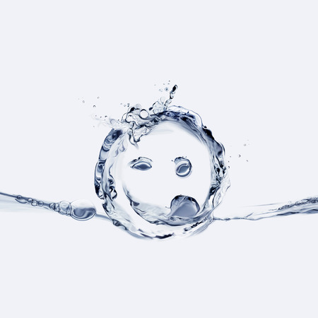 A mischievous smiley face made of water sticking its tongue out. Banque d'images