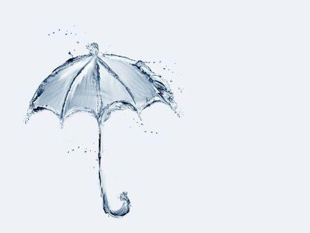 A blue umbrella made of water.