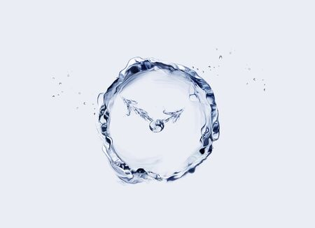 A round, blue clock made of water.