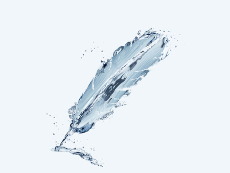 A blue writing feather made of water.