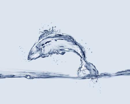 물 속으로 뛰어 드는 물고기로 만든 물고기. 스톡 콘텐츠 - 82735044