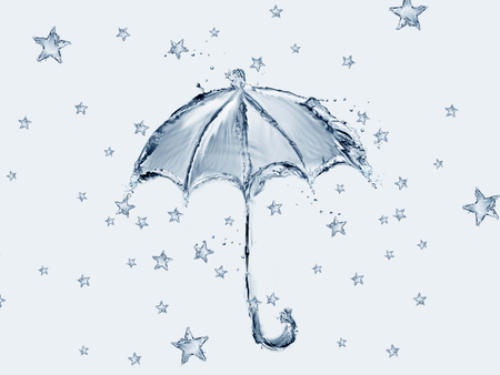 A blue umbrella made of water with stars raining.