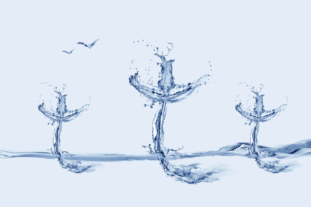Three crosses made of Water floating on water.