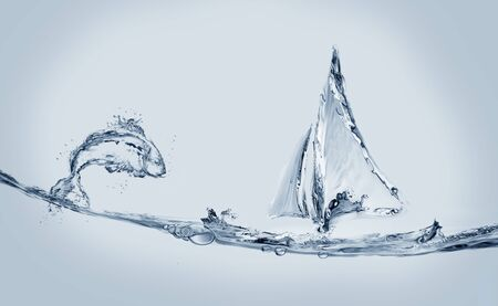 A blue water boat made of water sailing with a jumping fish. Banque d'images