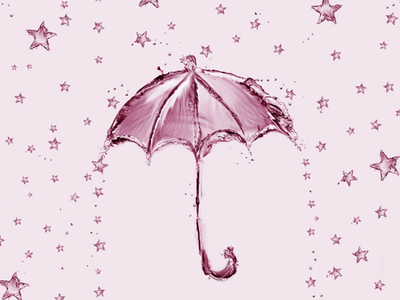 A red umbrella made of water with stars raining.