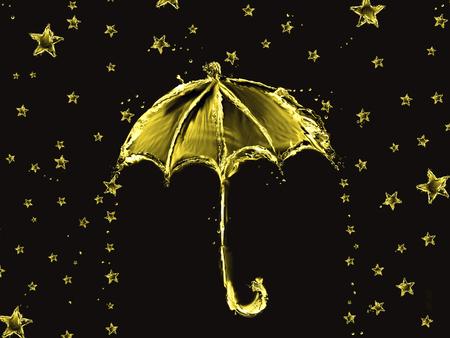 Een rode paraplu gemaakt van water met regenende sterren.