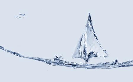 un bateau d & # 39 ; eau bleu faite de l & # 39 ; eau de voile avec un vol volants Banque d'images