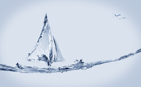 A blue water boat made of water sailing with a flying birds.