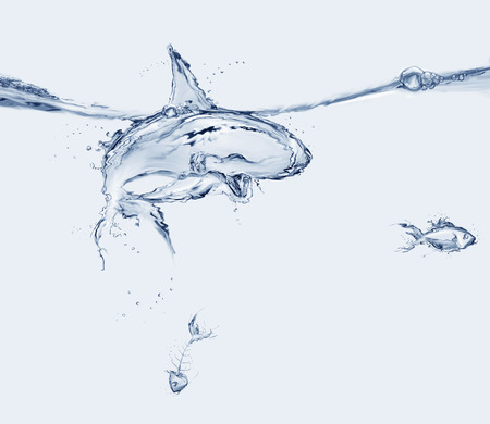 A shark made of water swimming in a menacing way, preparing to eat a water fish with a fishbone sinking.