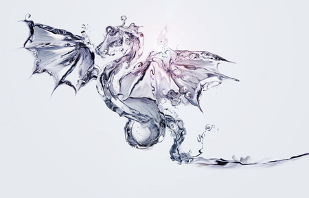 A blue flying dragon made of water.