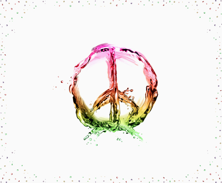 The peace & love symbol made of multicolored liquid on white and framed with bubbles.