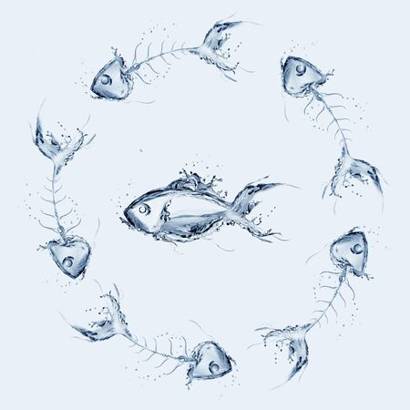 A fish swimming surrounded by a circle of fishbones.