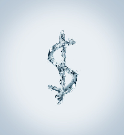 The US dollar currency symbol made of water. 스톡 콘텐츠