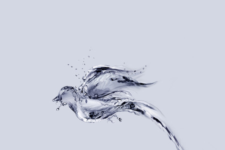 A bird made of water flying away.