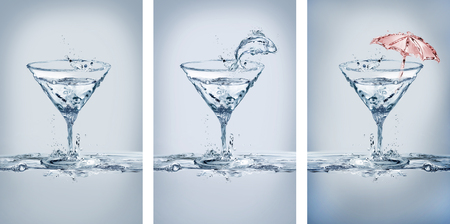 A collage of variations of martini glasses, plain, fish, umbrella. Made of water. Banque d'images