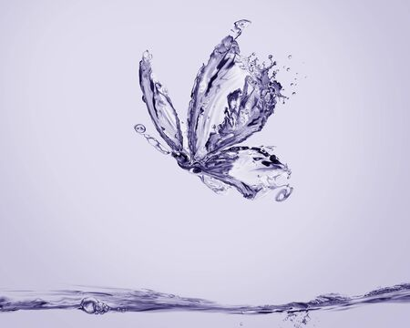 A violet butterfly made of water flying above water.