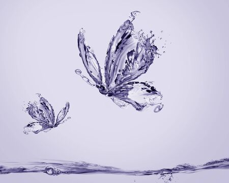 A pair of violet butterflies made of water flying above water.