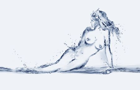 A naked woman made from water.