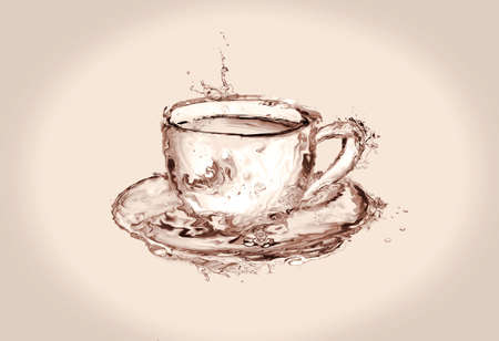 A brown cup of coffee made of water. Banque d'images