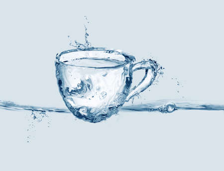 A blue coffee cup made out of water.