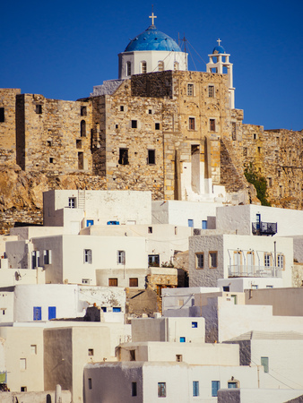 Chora of Astypapaia island ,Greece at daytime a close up of the white houses that encircle the castle