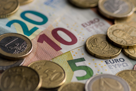 Money euro coins and banknotes background 版權商用圖片