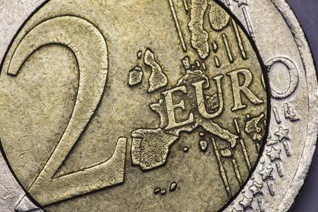A closeup photo of two euro  coin