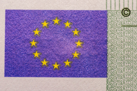 A closeup photo of a part of hundred euro bill