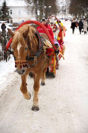 horse sleigh: A brown horse walking with a sledge in winter on one of the main streets of Suzdal, Russia
