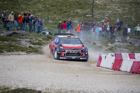 breen: Viana do Castelo, PORTUGAL - MAY 19: Craig Breen of Ireland and Scott Martin of Great Britain competes in their Citroen Total Abu Dhabi WRT Citroen C3 WRC during Day One of the WRC Portugal on May 19, 2017 in Caminha, Portugal. Photo taken on: May 19th, 2