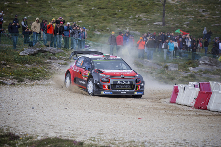 Viana do Castelo, PORTUGAL - MAY 19: Craig Breen of Ireland and Scott Martin of Great Britain competes in their Citroen Total Abu Dhabi WRT Citroen C3 WRC during Day One of the WRC Portugal on May 19, 2017 in Caminha, Portugal. Photo taken on: May 19th, 2