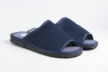 ankle strap: Male Blue Slipper on white background, isolated product, top view, studio.