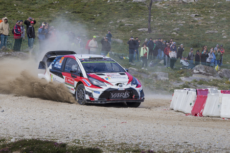 Viana do Castelo, PORTUGAL - MAY 19: Esapekka Lappi and Janne Ferm, steer their Toyota Yaris WRC in Caminha
