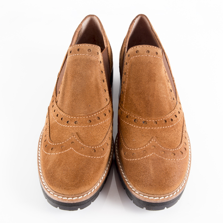 Female Brown Shoe on White Background, Isolated Product.