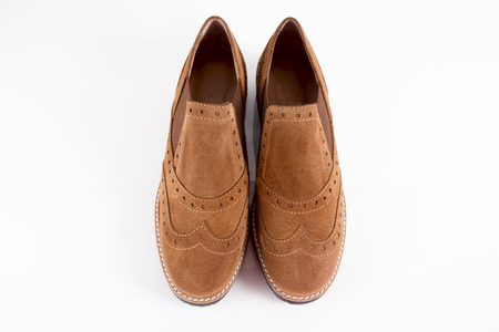 Female Brown Shoe on White Background, Isolated Product. Imagens