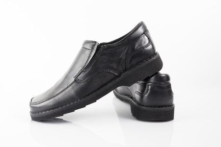 Male Black Shoe on White Background, Isolated Product. Imagens