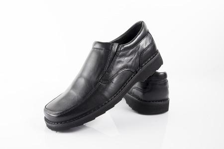 Male Black Shoe on White Background, Isolated Product.