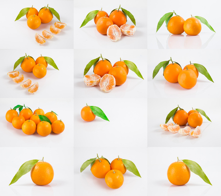 Isolated citrus collection. Whole tangerines or mandarin orange fruits and peeled segments isolated on white background with clipping path Imagens