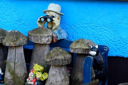 gnomos: Hombre con binoculares y un gnomos de jardín gato