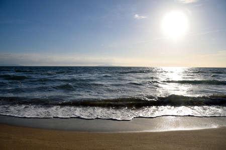 sun lit: panorama of the sea with sun lit