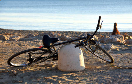 and diurnal: bicycle parked on the beach