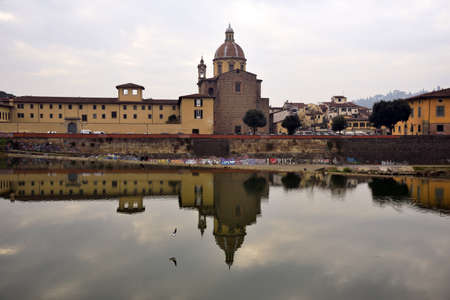 and diurnal: view of florence, italy, and old church