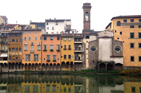 and diurnal: Florence, Italy, buildings along the River Arno Stock Photo