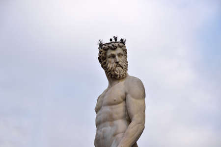 neptuno: estatua de Neptuno, Plaza de la Signoria, Florencia, Italia Foto de archivo