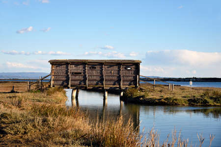 wooden hut for bird watching in the nature reserve Stok Fotoğraf