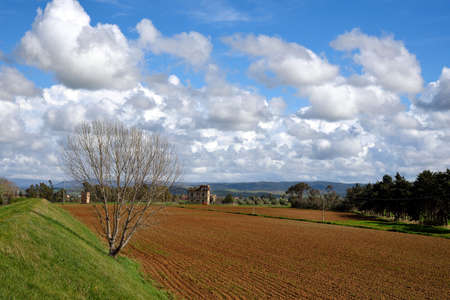 cultivated land: country panorama with clouds and cultivated land Stock Photo