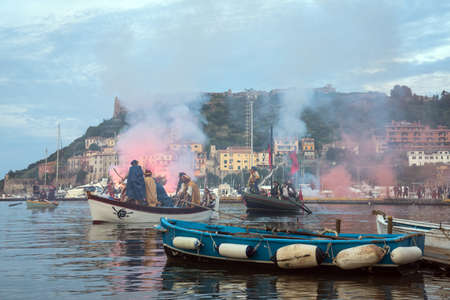 pirate crew: Porto Ercole, Tuscany, italy- May 7, 2016: pirates festival to remember turkish admiral known as Barbarossa who conquered the village in june 1544, after a bloody battle Editorial