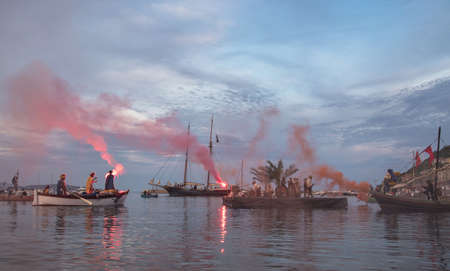 conquered: Porto Ercole, Tuscany, italy- May 7, 2016: pirates festival to remember turkish admiral known as Barbarossa who conquered the village in june 1544, after a bloody battle Editorial