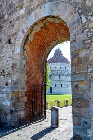 stone arch: stone arch and baptistery in Pisa, italy